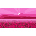 Pink illustration of flowery field