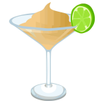 Martini with lime slice vector graphics