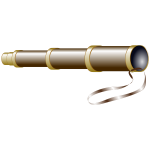 Vector image of brown spyglass with brass rings