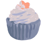 Vector drawing of chocolate cupcake