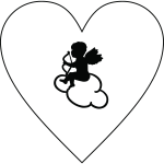 Heart and Cupid silhouette