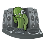 DJ Cactus vector drawing