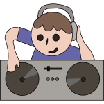 DJ kid cartoon art