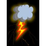 Vector drawing of cloudy day with lighting weather icon