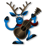 Vector image of dancing raindeer with guitar