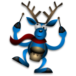 Vector illustration of dancing raindeer with drums