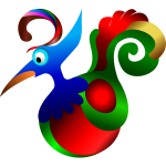 Vector drawing of blue,cartoon red and green decorative bird