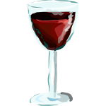 Red wine glass drawing