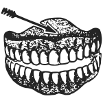 Human denture black and white vector illustration with arrow