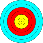 Vector image of blue, red and yellow target circle