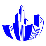 Distorted Buildings Icon Blue