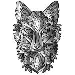 Duochromatic Ornamental Fox Line Art Enhanced