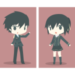 Uniformed boy and girl