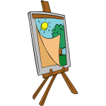 Easel with kids painting vector image