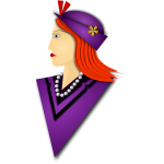 Vector image of elegant woman with purple hat