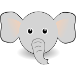 Vector illustration of funny elephant's head
