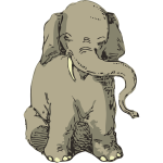 Sitting elephant vector sketch