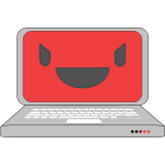 Laptop symbol with a smile on the screen