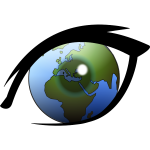 World globe in the eye vector clip art