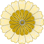 Vector drawing of round yellow and gold flower