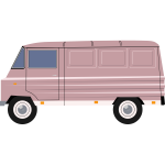 Vector illustration of purple delivery van