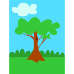 Green tree cartoon art