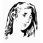 Sad young woman profile black and white vector drawing