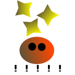 Happy face with stars vector drawing