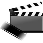 Filming sync board with filmstrip vector image