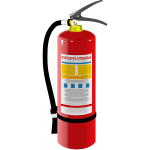 Vector illustration of fire extinguisher with label in Russian