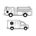 Ambulance and fire truck line art vector image