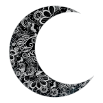 Vector clip art of floral crescent moon