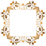 Octagonal floral border in shades of gold clip art