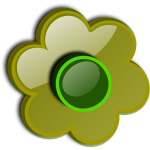 Gloss green flower vector clip art