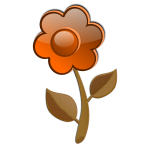 Gloss orange flower on stem vector image