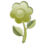 Gloss green flower on stem vector clip art