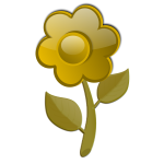 Gloss yellow flower on stem vector graphics
