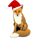Fox Wearing Santa Hat