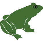 Frog silhouette with black eye vector image