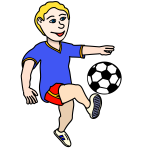 Boy playing soccer vector image