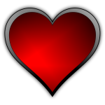 Vector image of red gloss finish heart with a light reflection