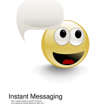 Vector illustration of emoticon with talking bubble