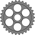 Thirty-tooth gear with circular holes