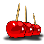 Candied apples on sticks vector graphics