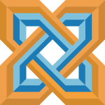 Drawing of stylized blue and orange Celtic knot