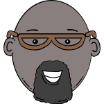 Vector image of cartoon man face with beard
