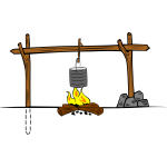 Wooden camp cooking crane vector graphics
