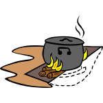 Camp cooking trench vector image