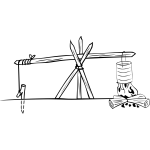 Camp cooking crane vector illustration