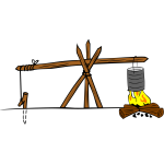 Camp cooking crane vector drawing